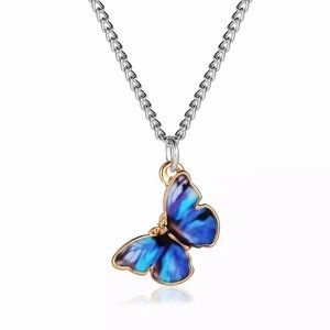 DEEP BLUE BUTTERFLY MID LENGTH NECKLACE